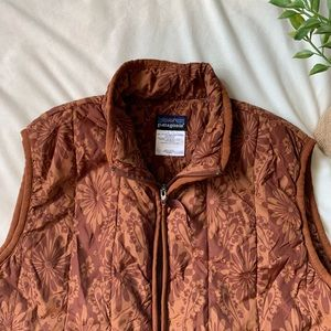 Patagonia Jackets & Coats - Patagonia Brown  Floral Insulated Puffer Vest Sz L